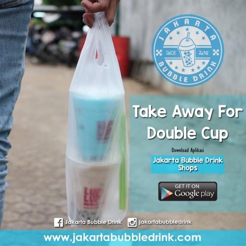 Jual Plastik Kresek - Plastik Take Away Double Cup.  Plastik Take Away produk dari Jakarta Bubble Drink sangat unik dan lucu. Berbeda dengan plastik kresek yang ada di pasaran.